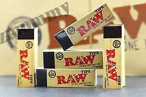 5 Packs of AUTHENTIC RAW Rolling Paper Tips Filter Spacer (50 Sheets per pack)