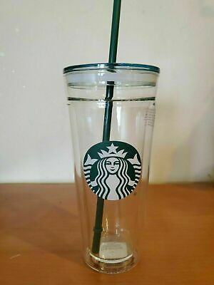 Starbucks Venti Clear glass Double Wall Cold/Iced Cup Tumbler 20 oz with straw