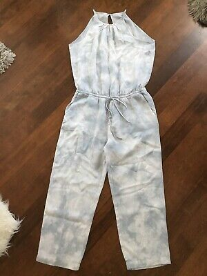 CLOTH & STONE Anthropologie Ice Blue Tie Dye Sleeveless Cropped Jumpsuit NEW S