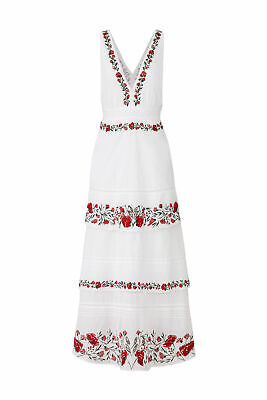 Saylor Women's Dress White Size Large L Maxi Embroidered Plunge Neck $325- #878