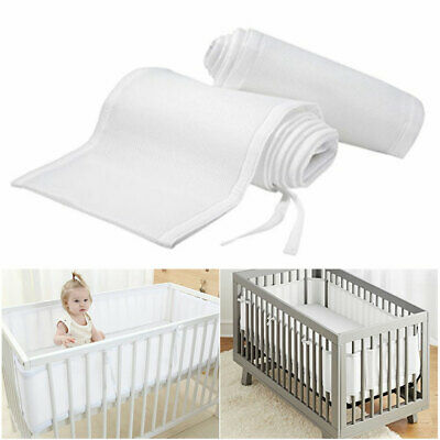 Baby Breathable Protector Mesh Crib Liner Wrap Nursery Cot Bed Bumper White AU