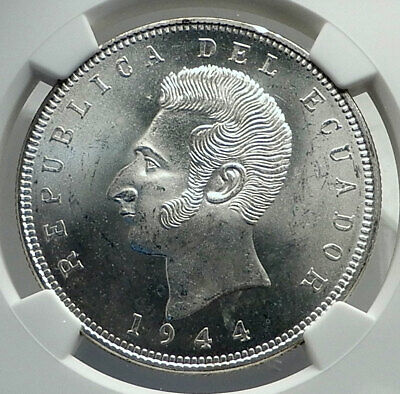 1944 ECUADOR Hero Antonio Jose de Sucre Silver Coin MEXICO Mint NGC MS i79714