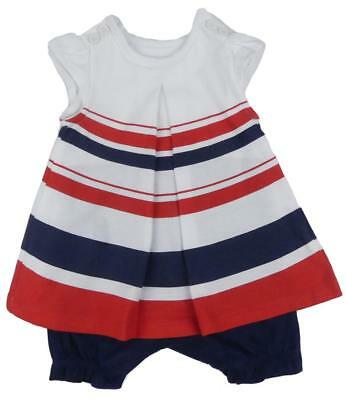 Baby Girl Dress Built In Romper Summer Outfit Striped Newborn To 9-12 Months