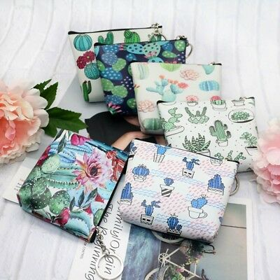 Fashion Women Cactus Girls Chic Wallet Coin Purse Bag Zipper Pouch with Keyring!