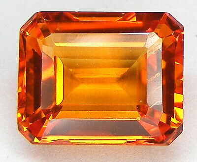 4,44CT. TRES BEAU LUSTRE T. EMERAUDE 10x8 MM. SAPHIR ORANGE DE SYNTHESE