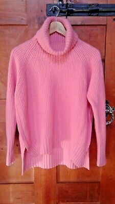 COUNTRY ROAD CR Medium Jumper Cashmere Angora Pink Turtleneck Wool Chunky Knit