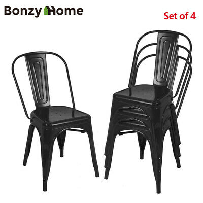Metal Dining Side Chairs Set of 4 Glossy Stackable Modern Dining Room Set Stools