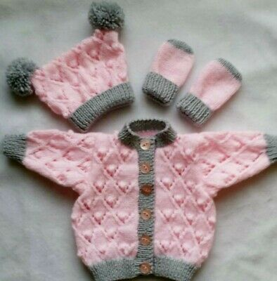 Hand Knitted Baby Girl Pink Silver Grey Cardigan Hat and Mitten Set N/B Upwards