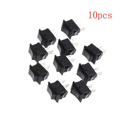 10X 10*15Mm Small Black Rocker Switch Kcd1-11 250Vac/3A 6A 125V Ac 2P SwitcheLTA