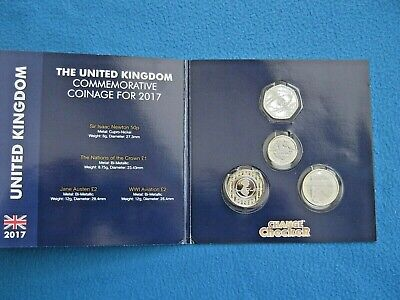 Set  2017  Commemorative  Coinage  In  Collecting  Pack  Austen-Aviation-Newton