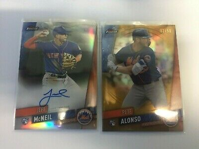 2019 Topps Finest Pete Alonso Gold Refractor #ed 32/50 with Jeff Mcneil Auto