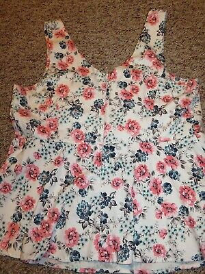 Torrid 0 XL flowered top shirt blouse tank baby doll ladies womens