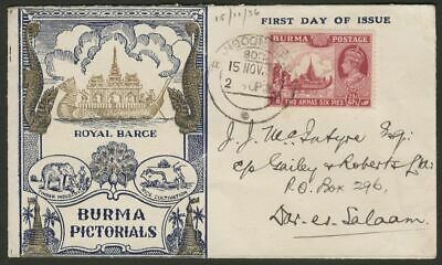Burma 1938 KGVI 2a6p Claret Used on Barge Illust First Day Cover Dar-Es-Salaam