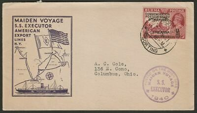 Burma 1941 KGVI Surch 1a Used on SS Executor Maiden Voyage Censor Cover w Cachet