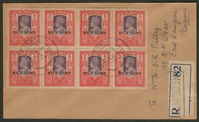 Burma 1945 KGVI MILY ADMIN 5r Block of 8 Used on Registered Rangoon Cover SG49
