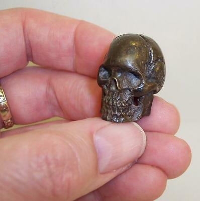 SMALL Vintage/Antique SOLID BRONZE Miniature SKULL Death Head AMAZING DETAIL