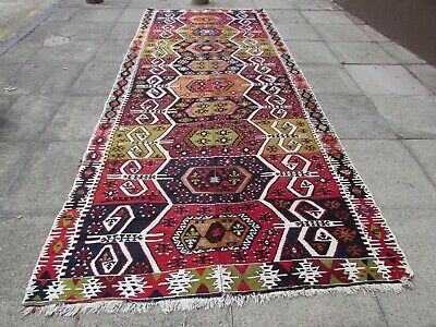 Fine Antique Hand Made Turkish Faded Green Red Wool Long Kilim 400x165cm