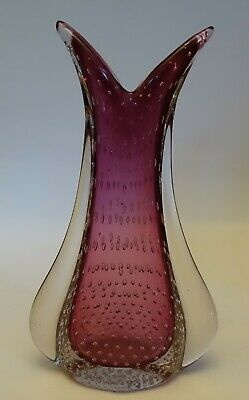 zu58 LARGE HEAVY MURANO GLASS CONTROLLED BUBBLES VASE, PINK ROSE  & CLEAR COLOR