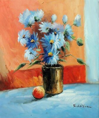 Flowers Blue Daisy Still Life In Vase Oil On Canvas Painting 20X24 STRETCHED