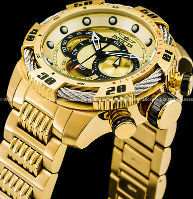 Invicta Men 50mm Speedway Viper Chronograph 18k Gold Dial & Bracelet Watch 25482