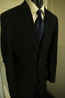Banana Republic Tailored Fit Size 40R Black 2 Button Wool Suit W/Dual Vents