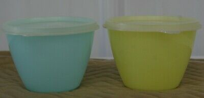 Vintage TUPPERWARE Small Round Sunshine Yellow Teal Blue Storage Container W Lid