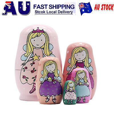 5Pcs Cute Matryoshka Toys Home decor Kids Toys Nested Wood Doll Different Size