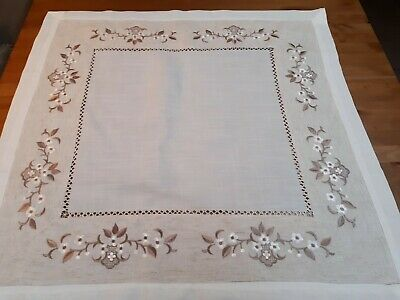 Square 85*85cm Linen/Look Premium Embroidered Oatmeal Leaf T/Cloth