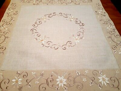 Square 85*85cm Linen/Look Premium Embroidered Oatmeal/Linen Leaf T/Cloth