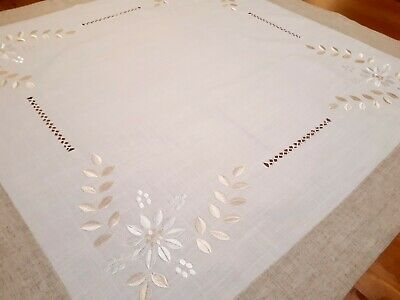 Square 85*85cm Linen/Look Premium Embroidered  White Gold T/Cloth