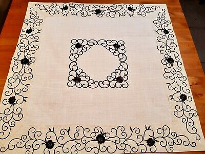 Square 85*85cm Linen/Look Premium Embroidered Black/White Swirl Leaf T/Cloth