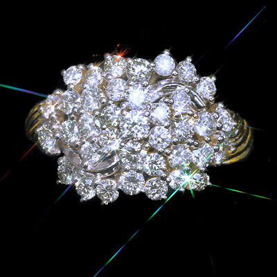 1.5Ct 100% Natural Diamond 10K Gold Vintage Cluster Ring EFFECT 3Ct RWG163-2