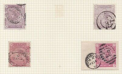 Lot:31119  GB QV  surface printed  SG178 2s6d Lilacs  SG181 5s red