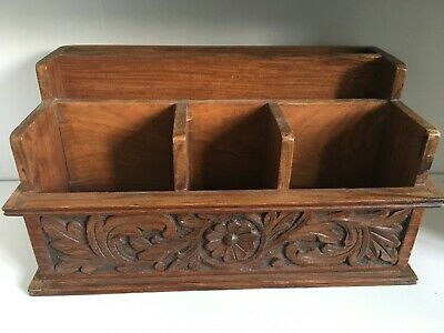 Large Heavy Wooden Carved Letter Rack/Tidy Made in India