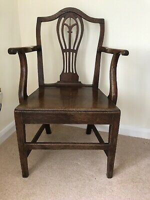 Antique Georgian oak carver chair with Arms In Good Condition