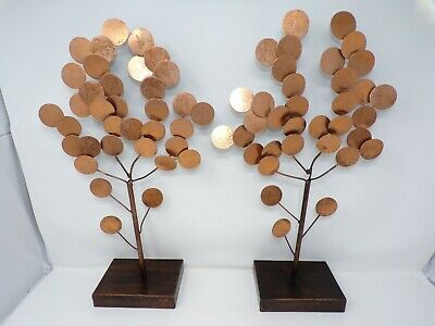 "Vintage Mid Century Modern PAIR of copper ?  trees apsen? 18"" sculpture art 339"