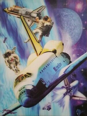 3D Picture Art Outer Space Spaceships Spacecraft Size 39 x 29 cm approx  New