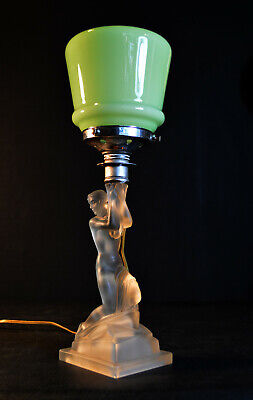 Rare art deco Walther & Sohne moulded satin glass Nude sea-siren figural lamp