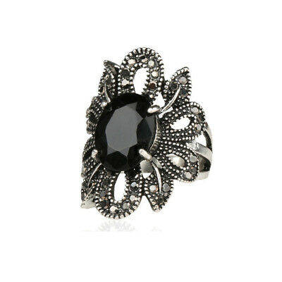 Punk Ring Jewelry Silver Ancient Black Agate Stones Hollow Female Finger Rings