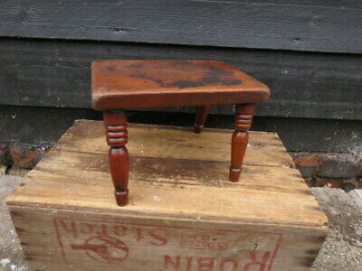 Small Antique Elm?  Stool With Turned Legs