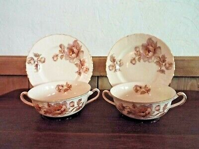 Pair of Antique EPIAG CHINA Czechoslovakia Double handle Cups & Saucers ROSES