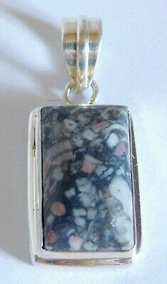 Beautiful Sterling Silver Black, Gray & Pink Marbled Stone Pendant Enhancer