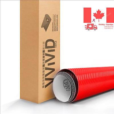 Red 3D Carbon Fiber Vinyl Wrap Roll with VViViD XPO Air Release Technology - ...