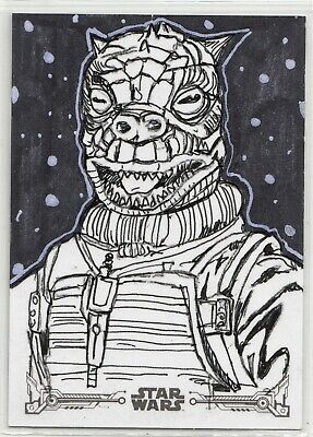 "2019 Topps Star Wars ESB Black & White ""Bossk"" Sketch Card by Zach Woolsey"