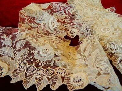A Stunning Huge 373 cm Victorian Point De Gaze Handmade Lace C.1880