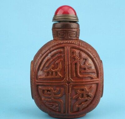 Rare Chinese Alabaster Hand-Carved Auspicious Snuff Bottle Gift Collection