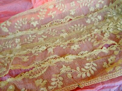 2 Huge Lengths Handmade 18th Century Alencon Lace On Tulle 1780's