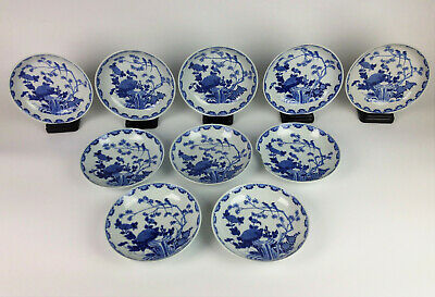 17th Century Set of 10 Chinese Kangxi Bowls- Antique Blue White Bird Signed Mark
