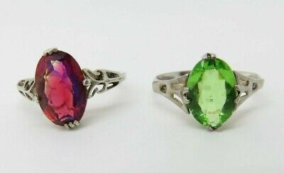 2 Antique Art Deco Sterling Silver Rings Mystic Pink Oval Cut Stone & Green Lot
