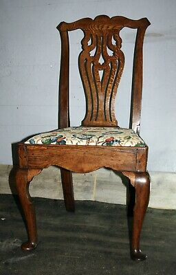Mid eighteenth century oak joined side chair early Chippendale George II 1750